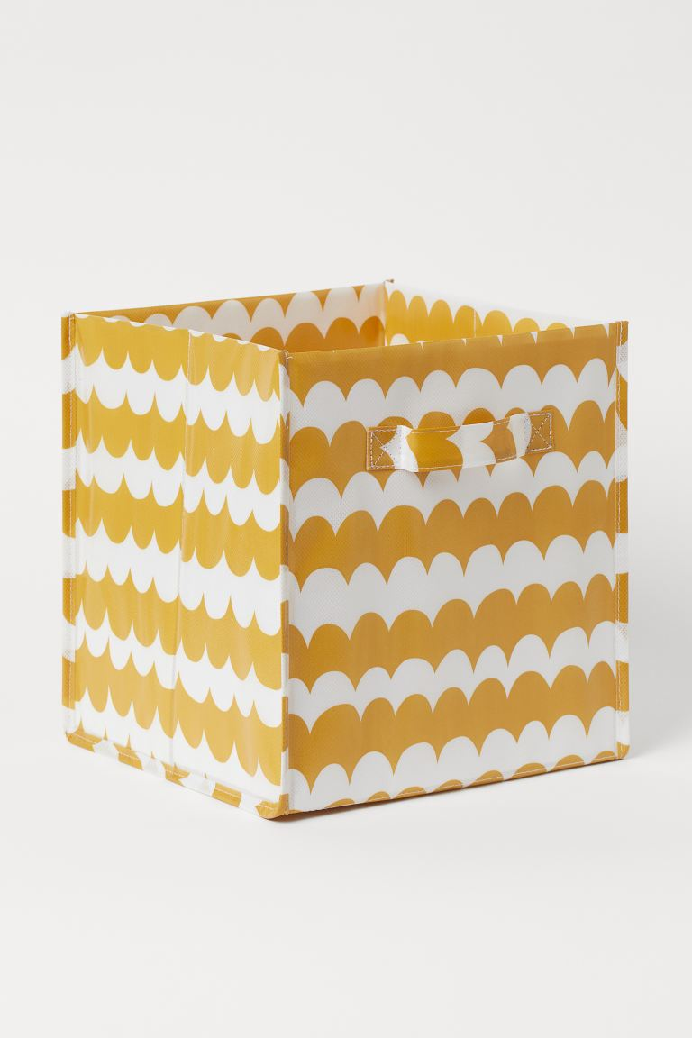 Storage Box - Mustard yellow/patterned - Home All | H&M US
