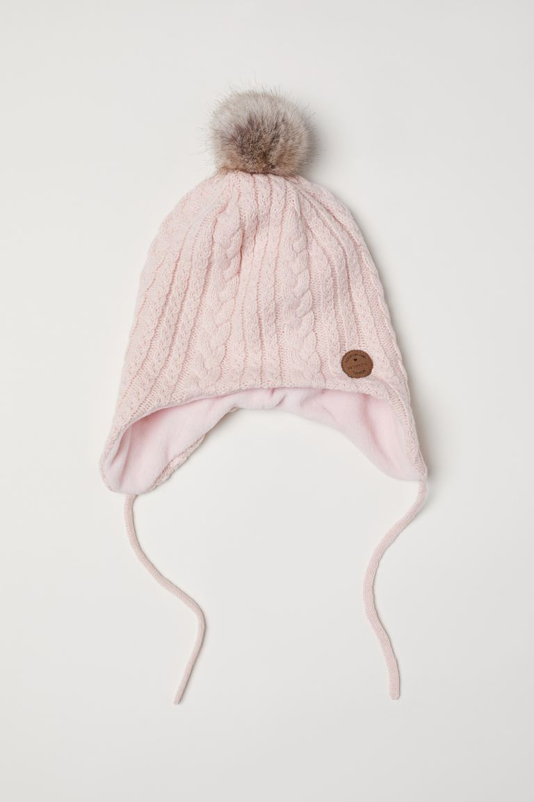 Cable-knit Hat - Powder pink - Kids | H&M US