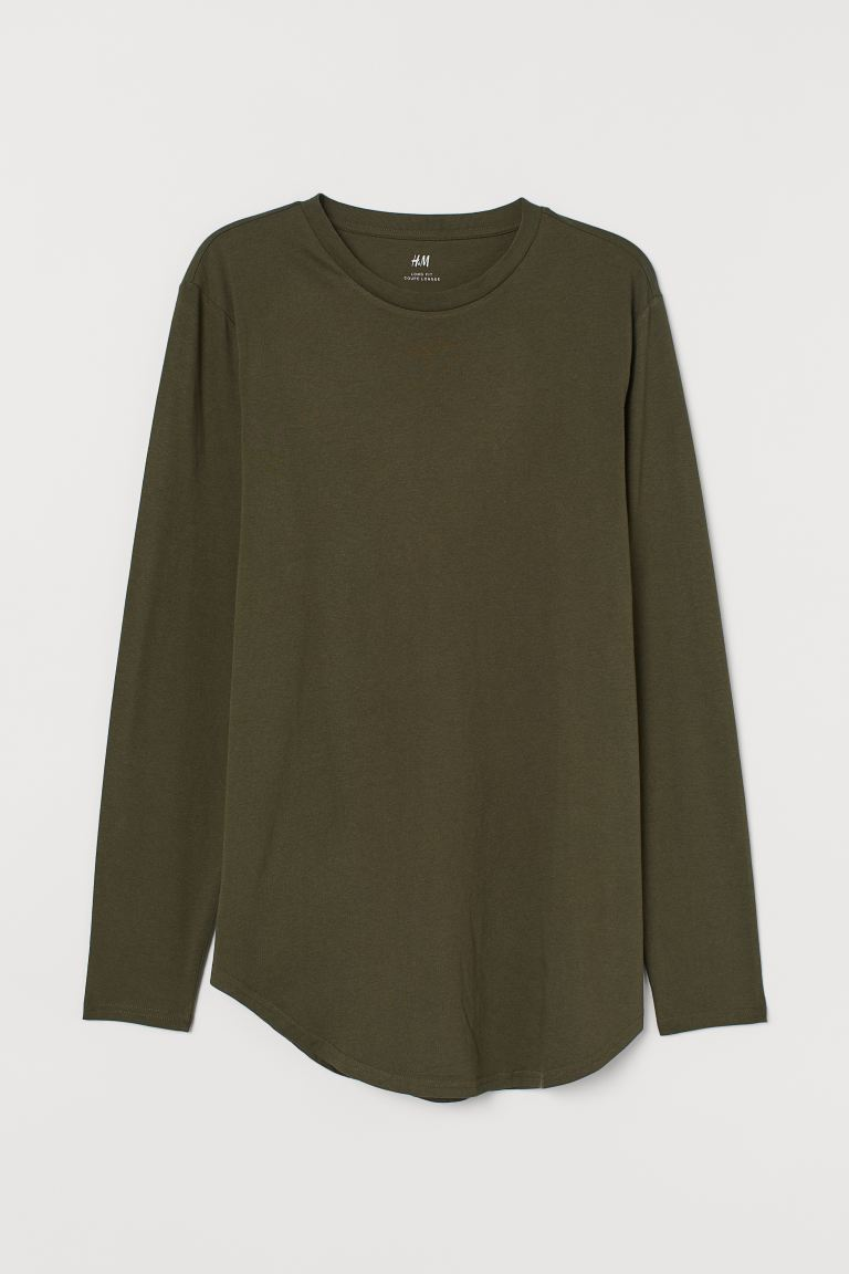Long-sleeved top Long Fit - Dark khaki green - Men | H&M