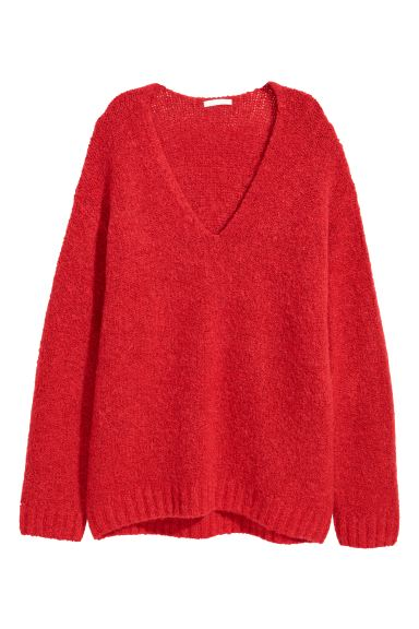 Knitted wool-blend jumper - Red - Ladies | H&M IE