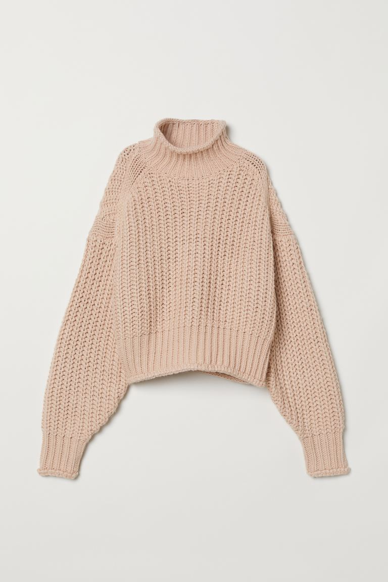 Ribbed polo-neck jumper - Powder pink - Ladies | H&M GB