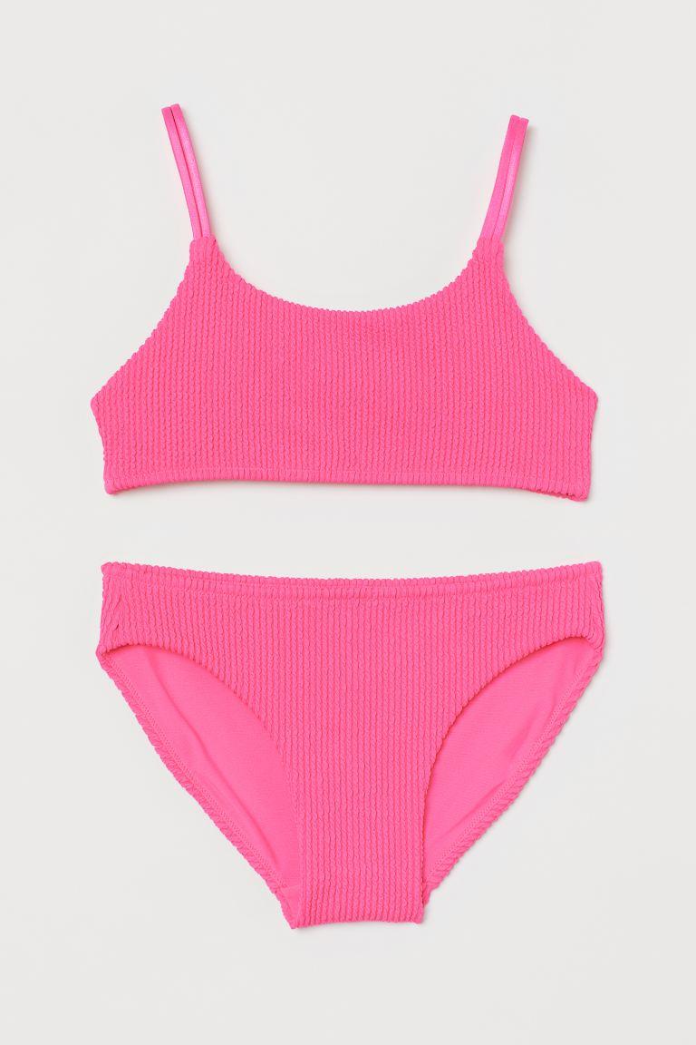 Crueldad Histérico Sensible  Textured-knit bikini - Neon pink - Kids   H&M