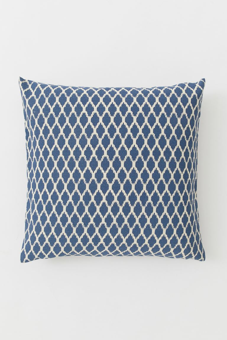 Patterned Cotton Cushion Cover - Dark blue/white patterned - Home All | H&M CA