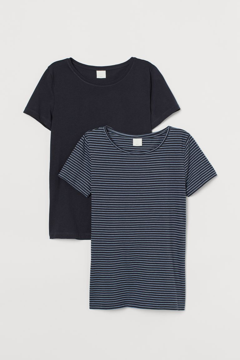 2-pack T-shirts i bomull - Marineblå/Stripet - DAME | H&M NO