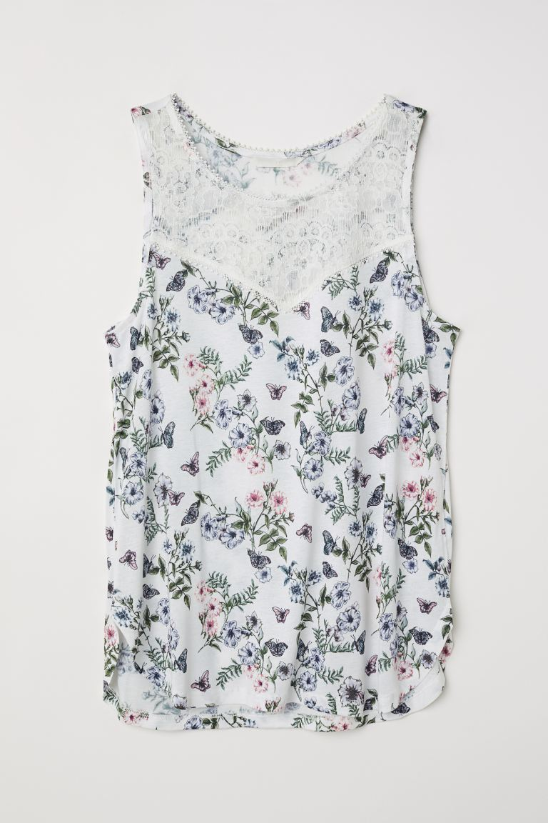 Sleeveless jersey top - White/Floral - Ladies | H&M GB
