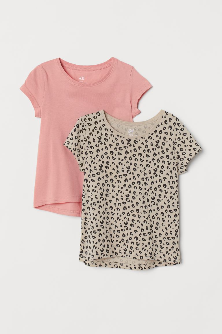 2-pack cotton T-shirts - Light pink/Leopard print - Kids | H&M IE