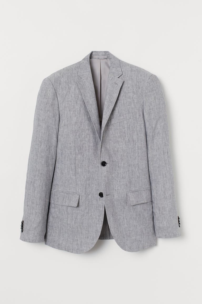 Slim Fit Linen Blazer - Light gray - Men | H&M CA