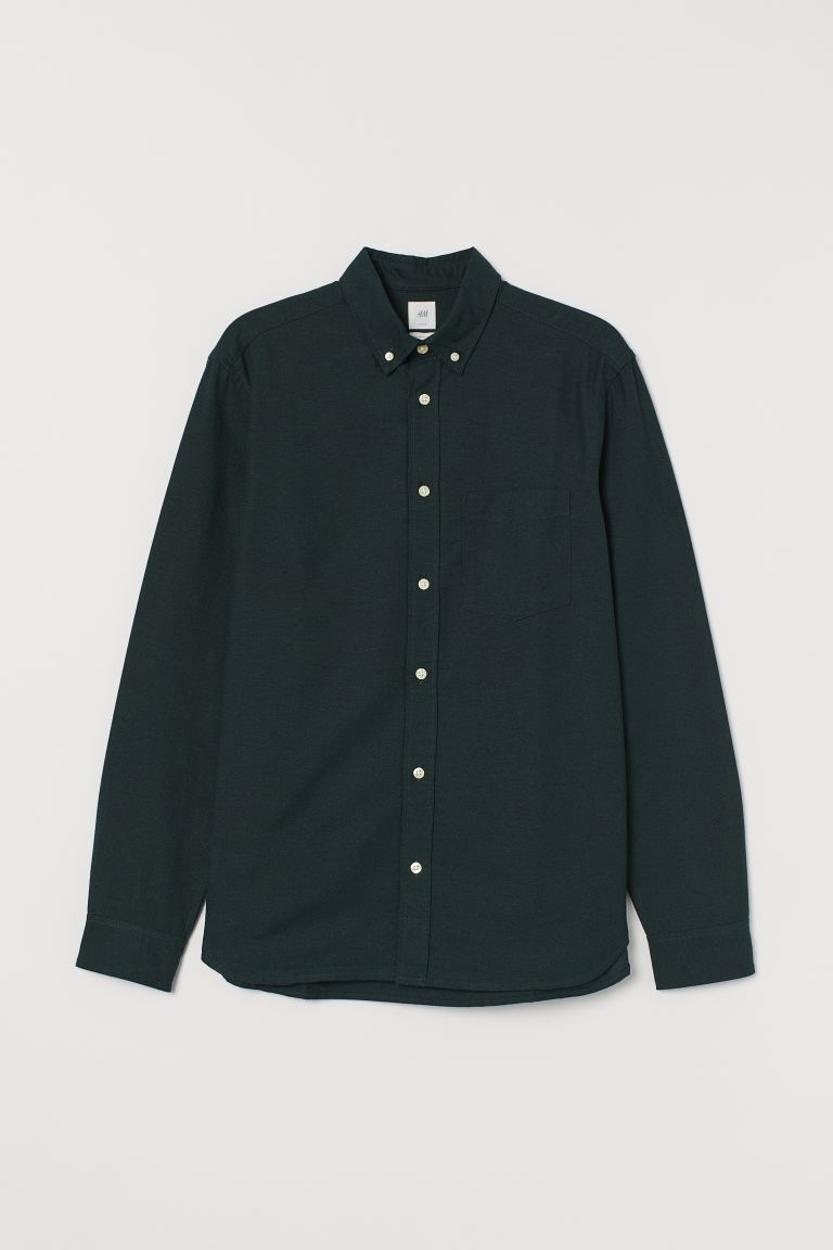 Oxford shirt Regular Fit - Dark green - Men | H&M GB