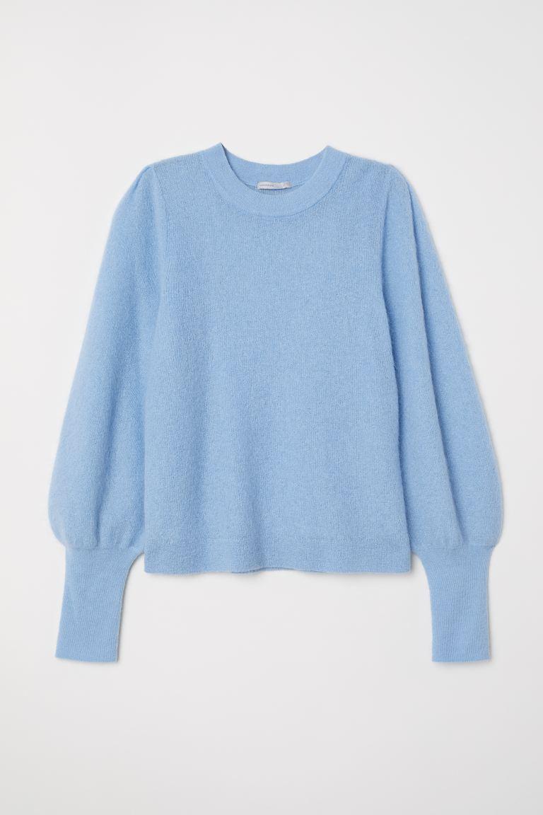 ljusblå stickad tröja