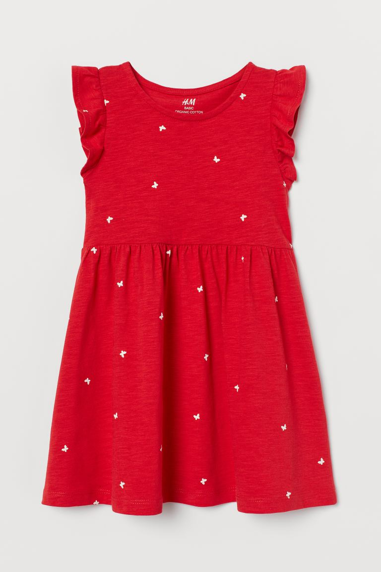 Jersey dress - Red/Butterflies - Kids | H&M GB