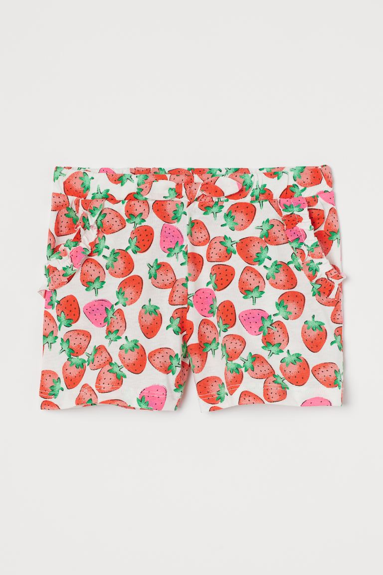Cotton jersey shorts - White/Strawberries - Kids | H&M GB