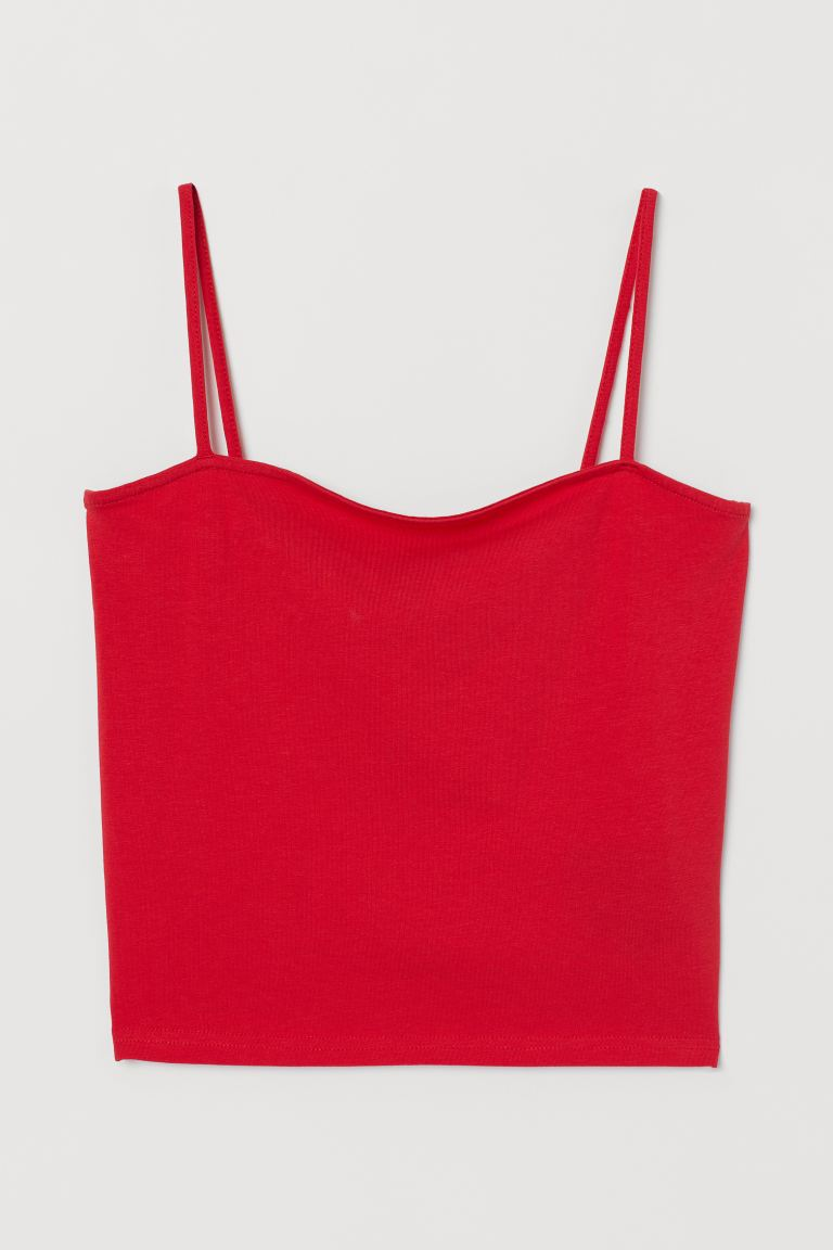 Cropped Jersey Camisole Top - Red - Ladies | H&M US