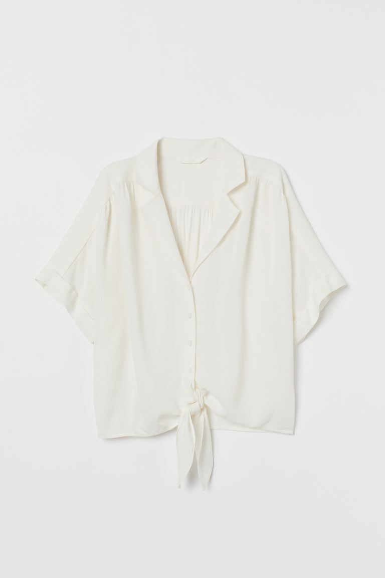 Tie-hem Blouse - White - Ladies | H&M US
