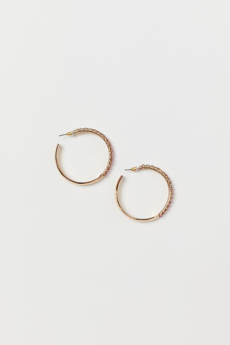 Rhinestone Hoop Earrings - Gold-colored/pink - Ladies | H&M CA