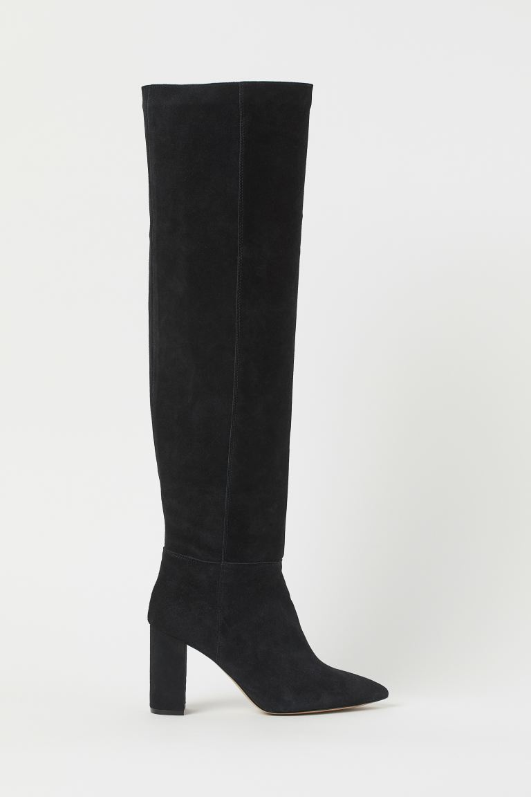 Kniehohe Velourslederstiefel - Schwarz - Ladies | H&M AT