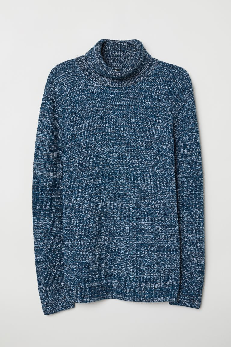 Pullover a coste a collo alto - Blu mélange - UOMO | H&M IT