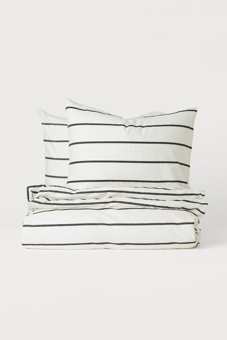 Striped Duvet Cover Set - White/striped - Home All | H&M CA