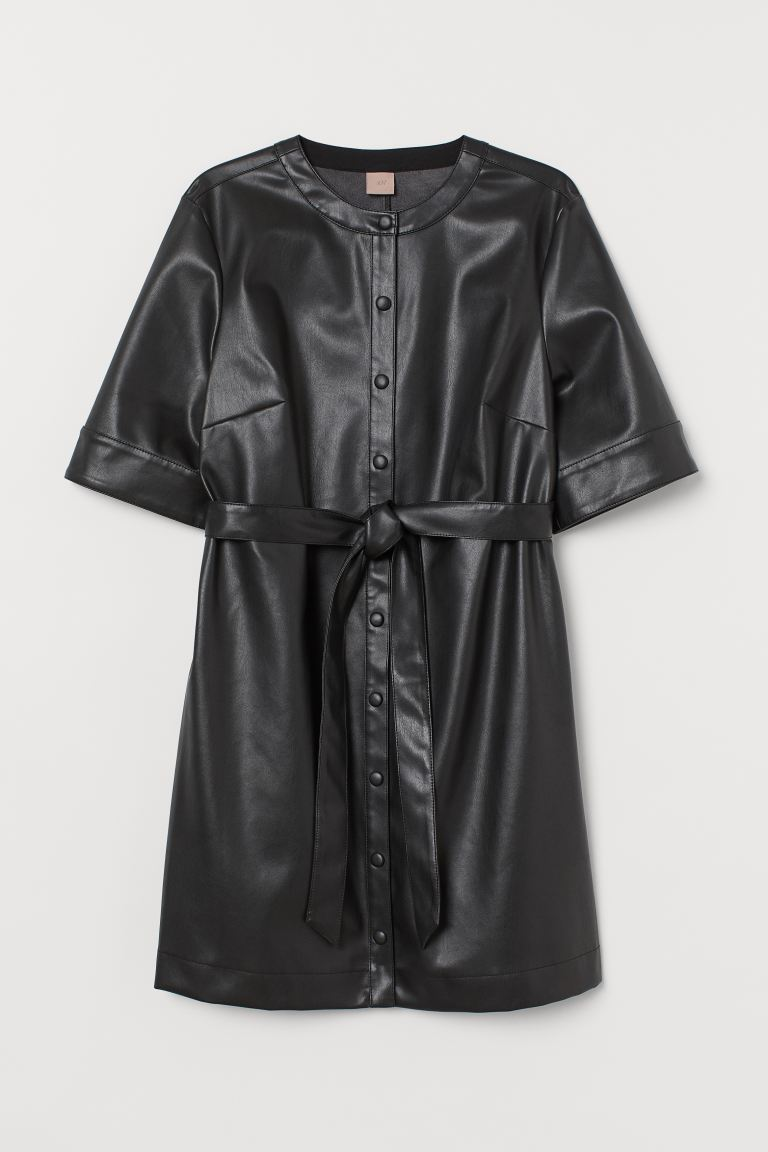 H&M+ Imitation leather dress - Black - Ladies | H&M GB