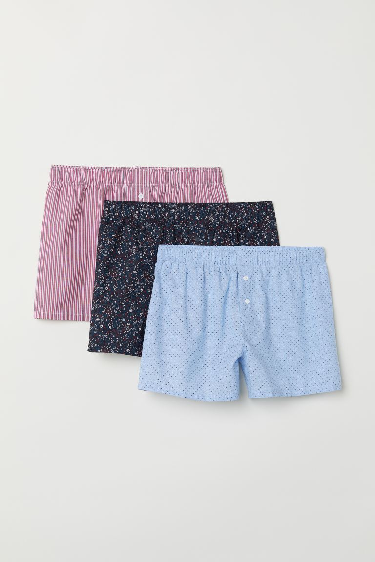 3-pack woven boxer shorts - Dark blue/Floral - Men | H&M