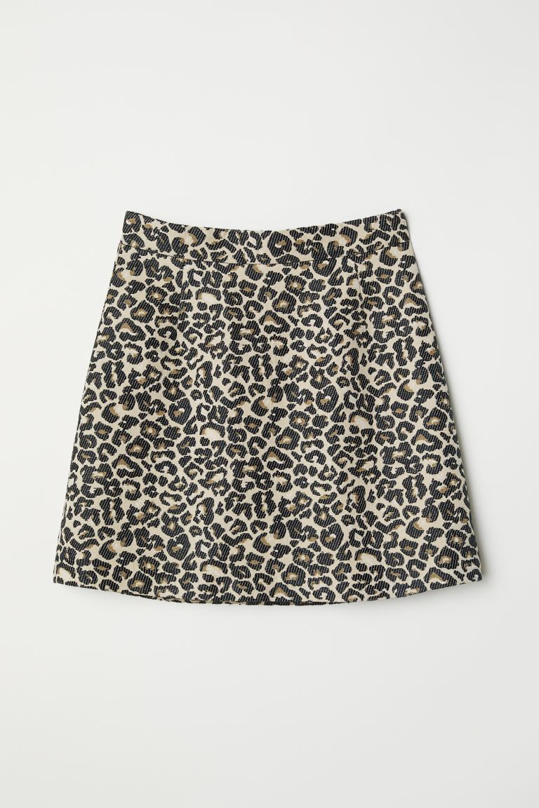 Jacquard-weave skirt - Beige/Leopard print - Ladies | H&M GB