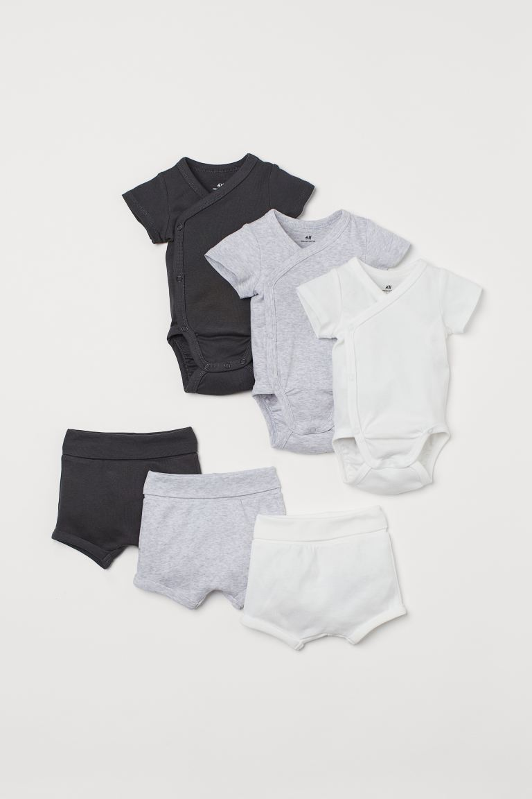 6-piece Jersey Set - Light gray melange/dark gray - Kids | H&M CA