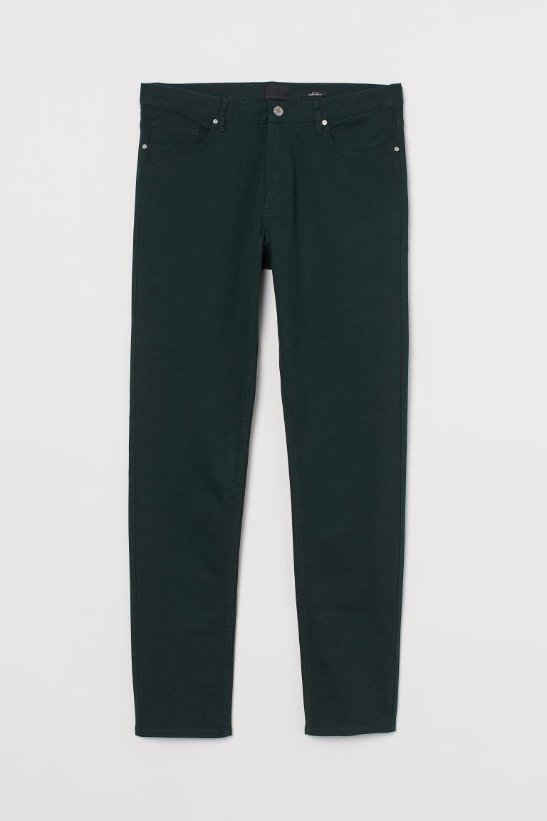 Twill trousers Slim Fit - Dark green - Men | H&M