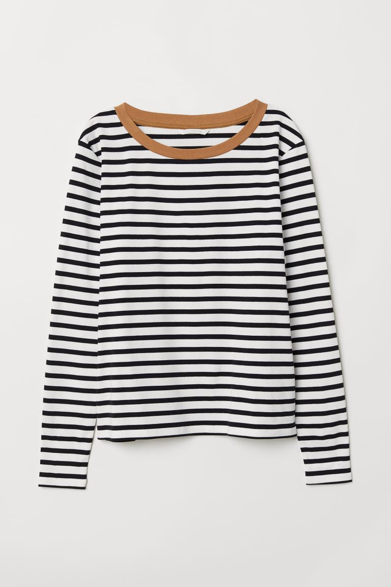 Striped jersey top - Black/White striped - Ladies | H&M GB
