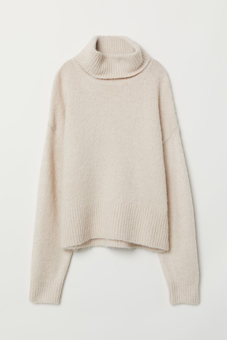 Knit Turtleneck Sweater - Natural white - Ladies | H&M US