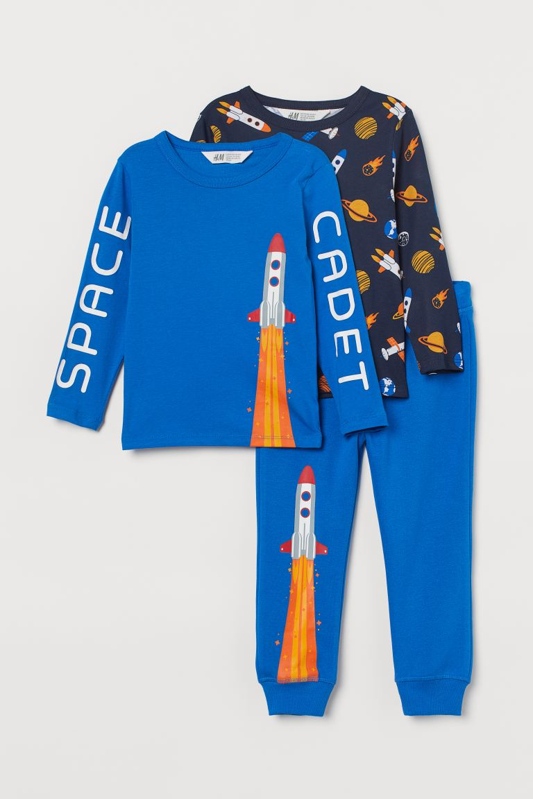 3-piece Jersey Set - Bright blue/space - Kids | H&M CA