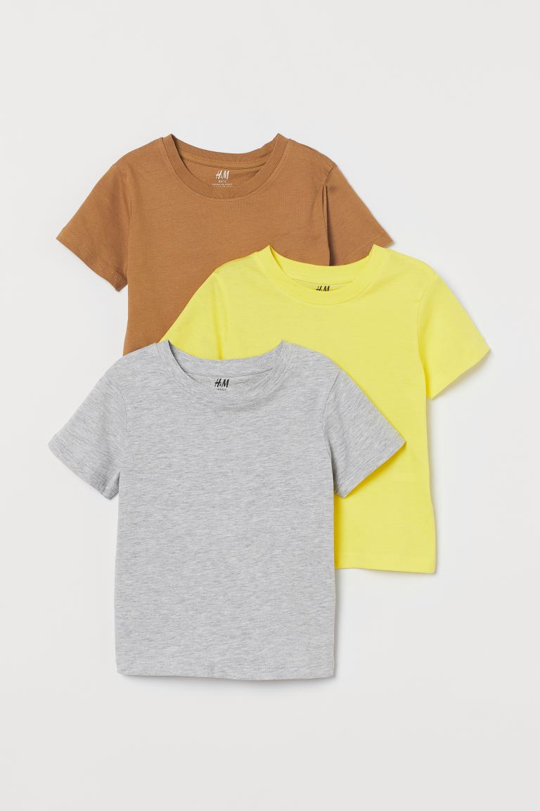 3-pack T-shirts - Beige/yellow/gray melange - Kids | H&M US