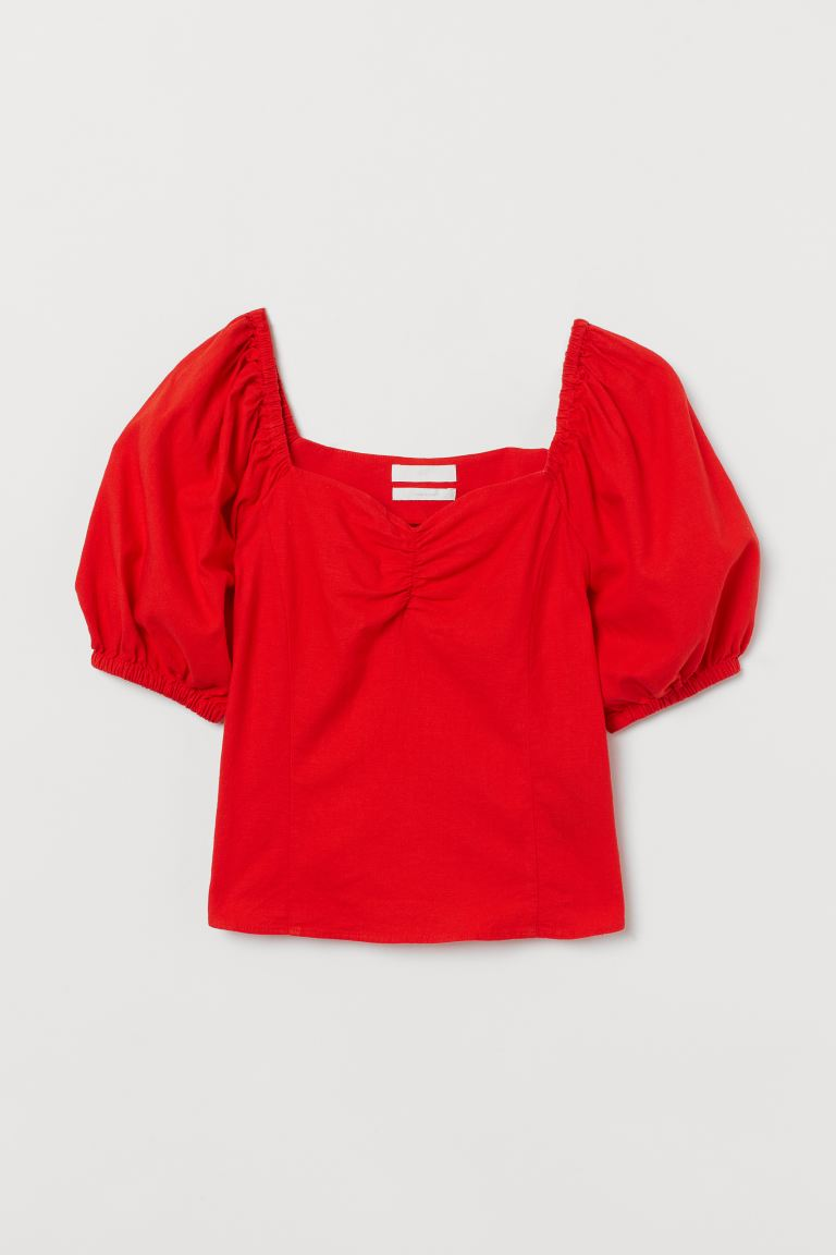 Puff-sleeved Blouse - Red -  | H&M CA