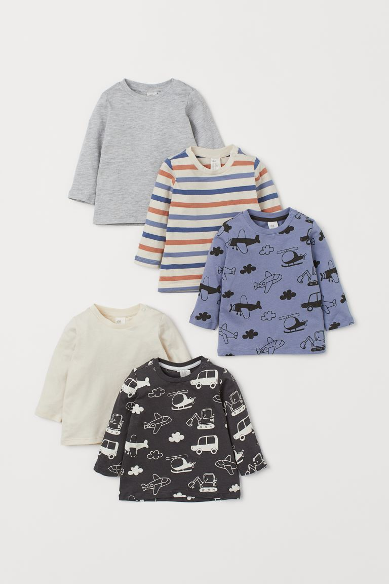 5-pack Cotton Shirts - Blue/airplanes - Kids | H&M US