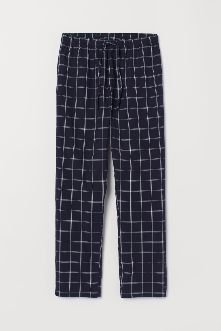 Pyjama bottoms - Dark blue/Checked - Men | H&M