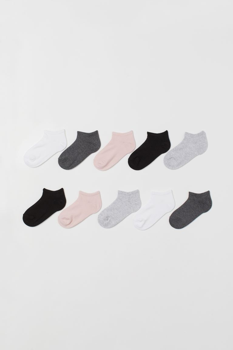 10-pack Ankle Socks - White/gray melange - Kids | H&M US