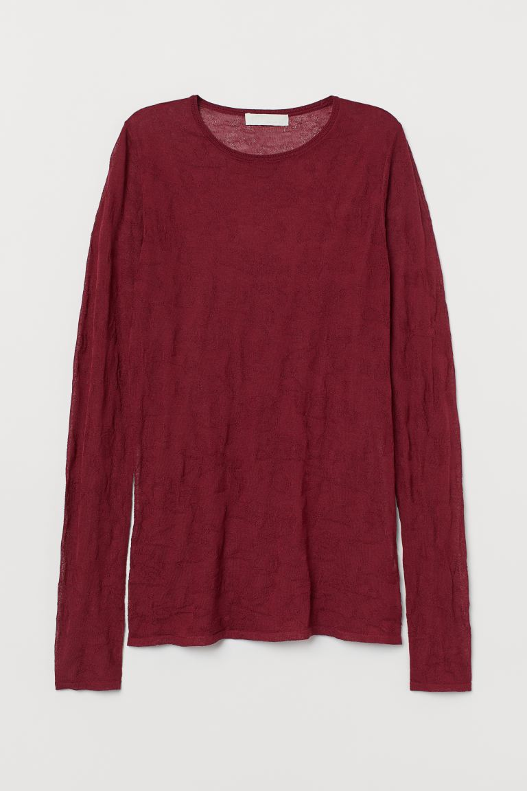 Airy Lyocell-blend Top - Burgundy -  | H&M US