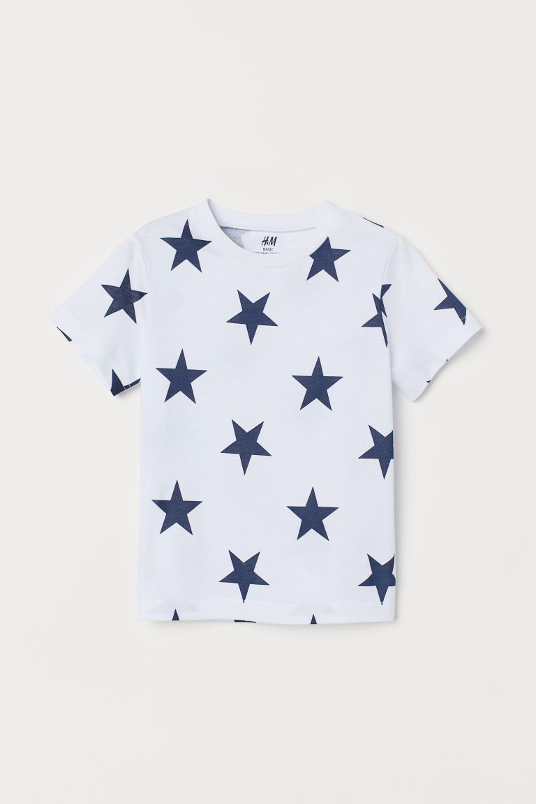 Cotton T-shirt - White/Stars - Kids | H&M IN