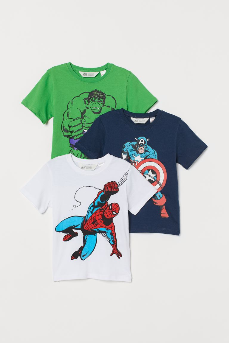 3-pack printed T-shirts - White/Avengers - Kids | H&M GB
