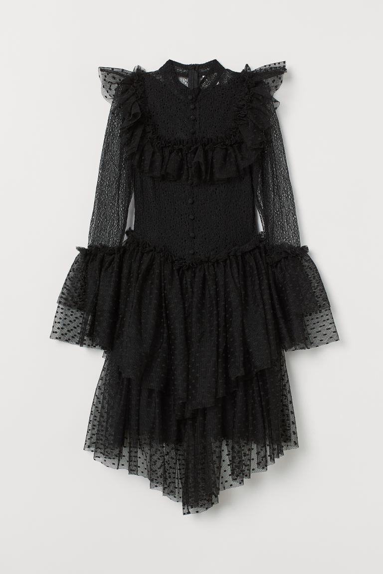 Tulle-skirt lace dress - Black - Ladies | H&M GB