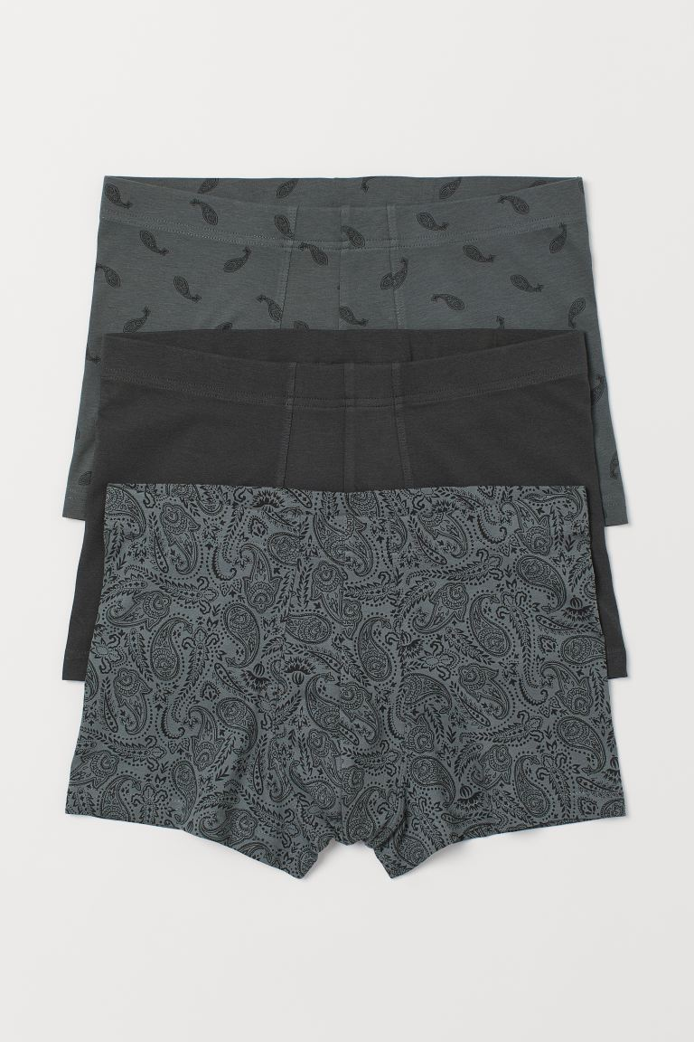 3-pack short trunks - Khaki green/Paisley-patterned - Men | H&M