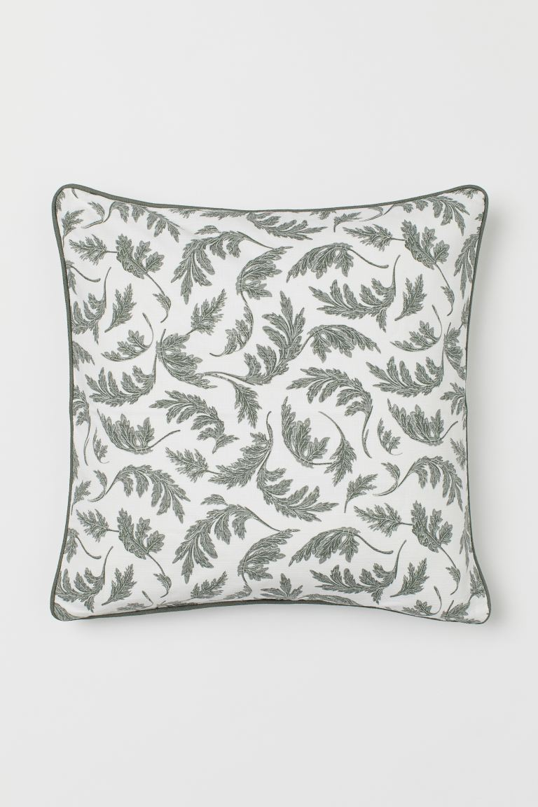 Patterned cotton cushion cover - White/Leaf print - Home All | H&M GB
