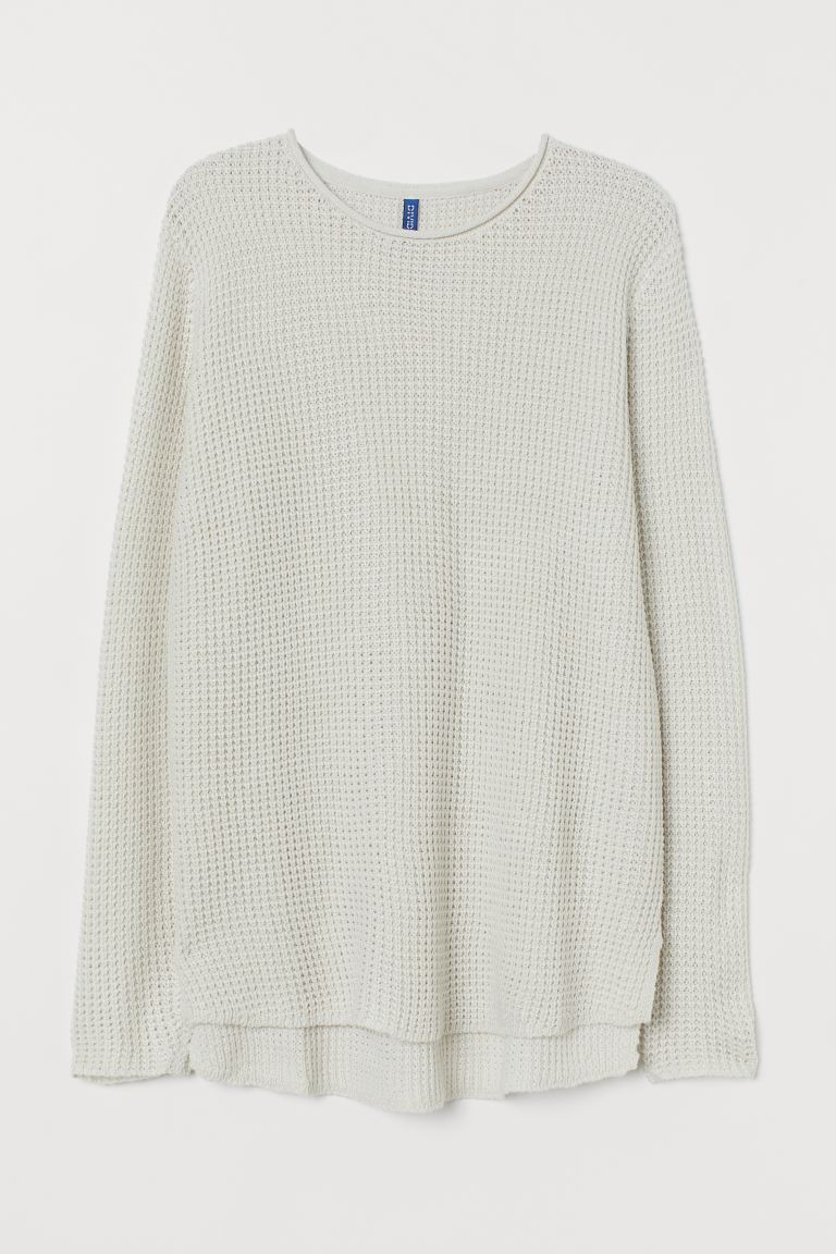 Textured-knit jumper - Natural white - Men | H&M IN