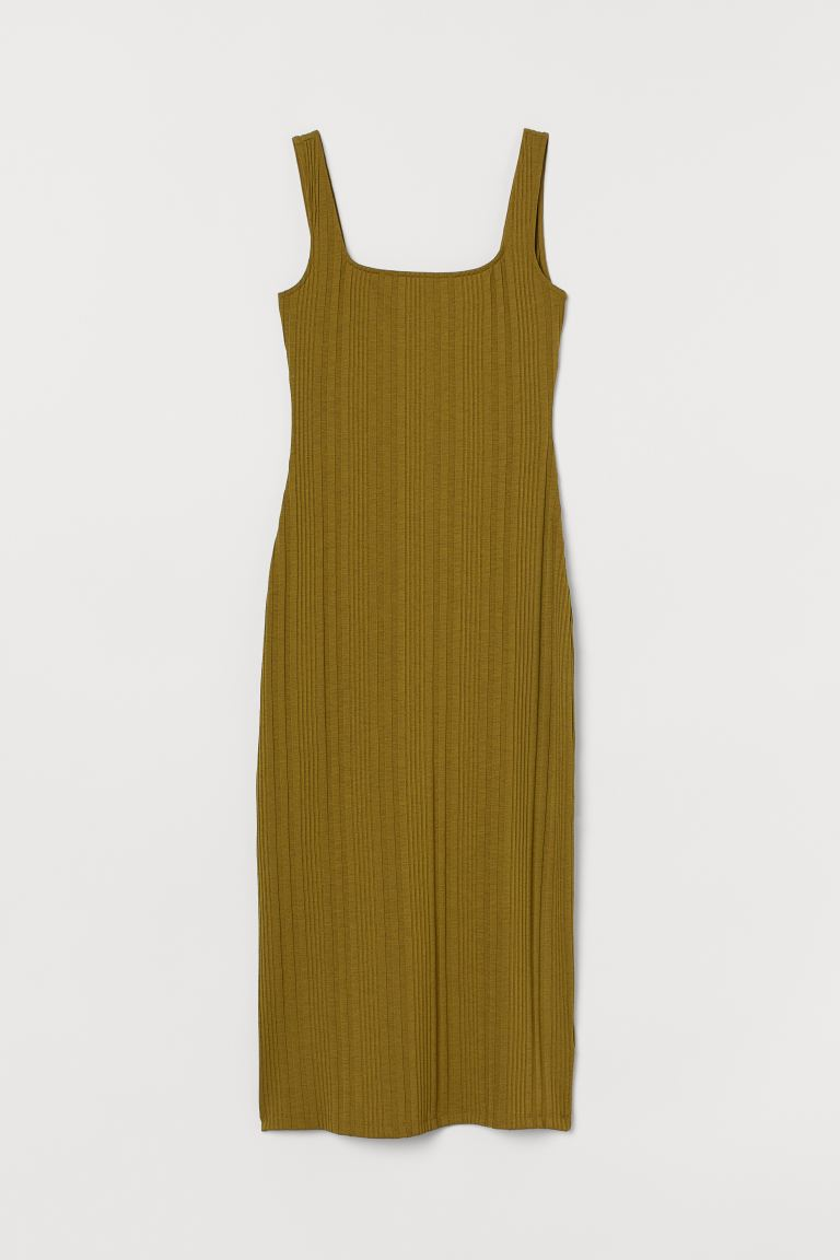 Ribbed Dress - Olive green - Ladies | H&M US