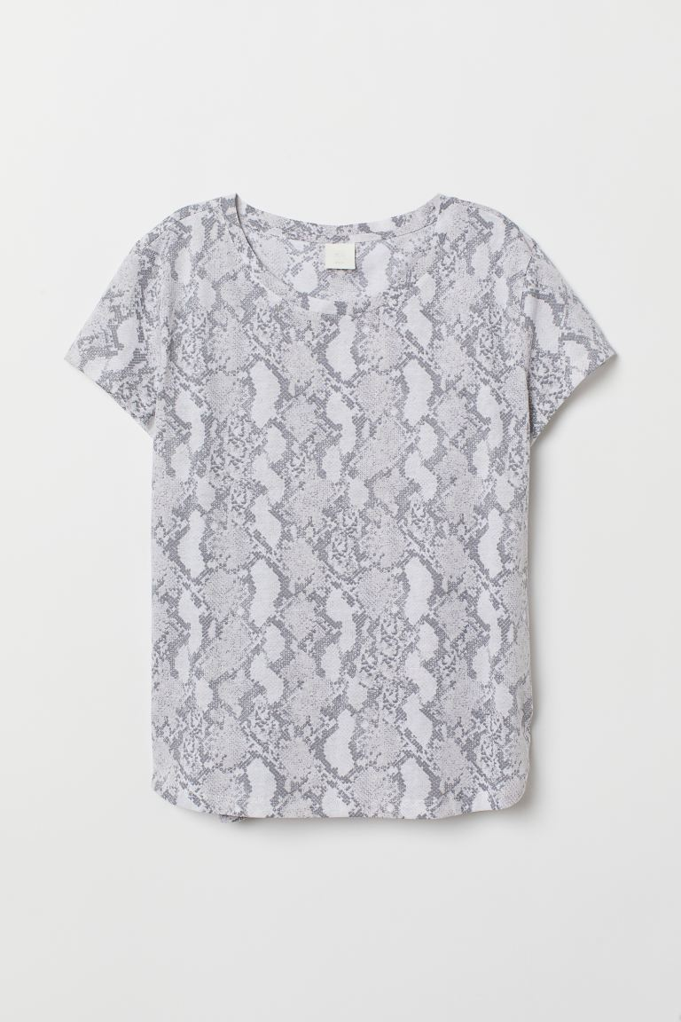 T-shirt - White/Snakeskin-patterned - Ladies | H&M GB