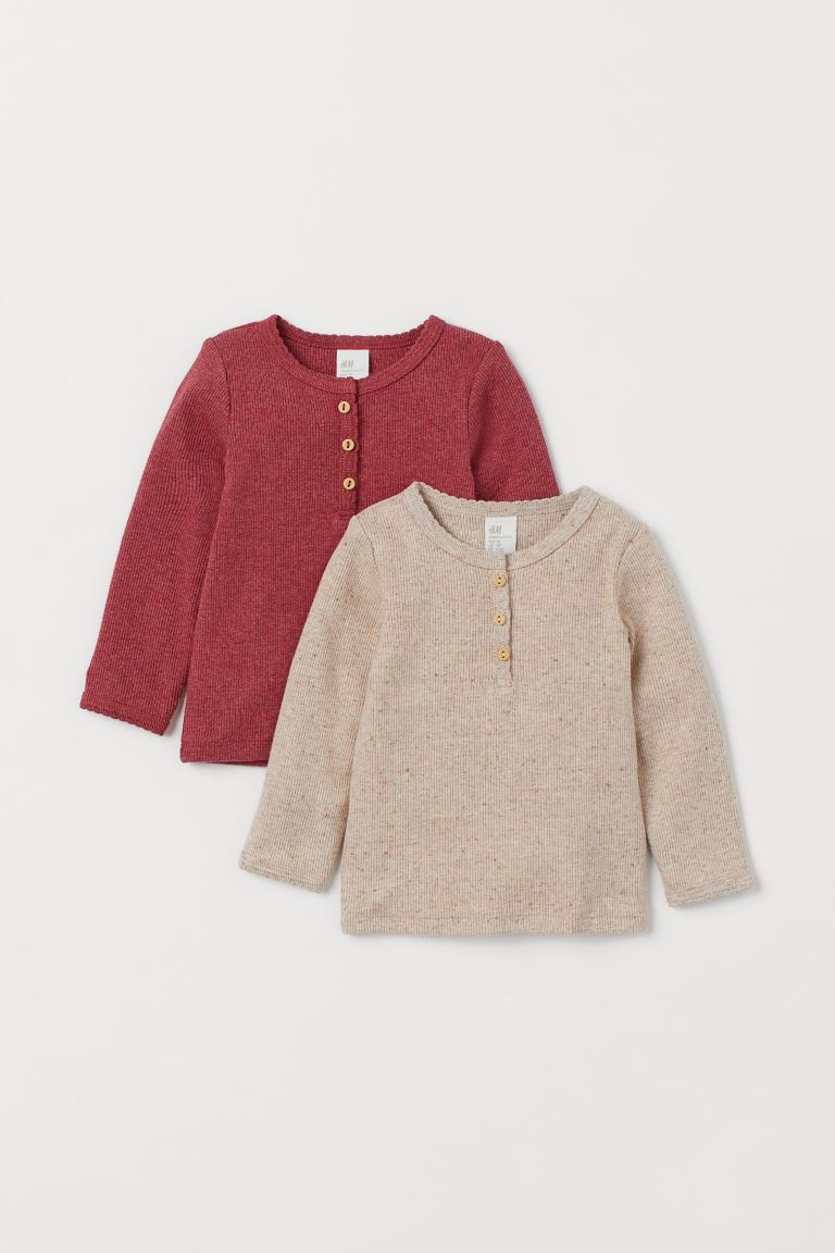 2-pack long-sleeved tops - Red marl/Light beige - Kids | H&M GB