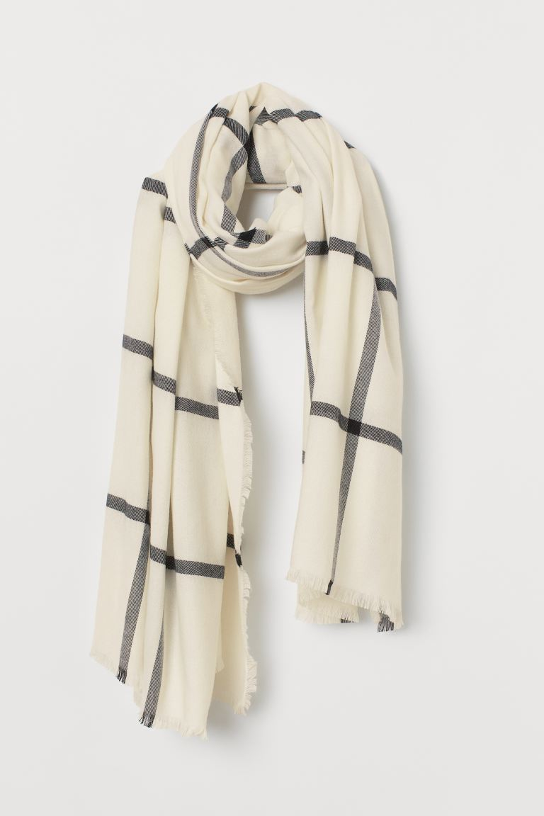 Large scarf - Natural white/Checked - Ladies | H&M