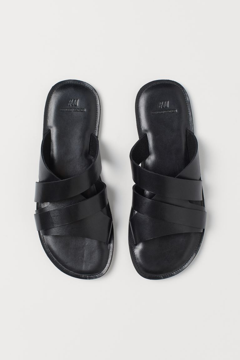 Leather mules - Black - Men | H&M