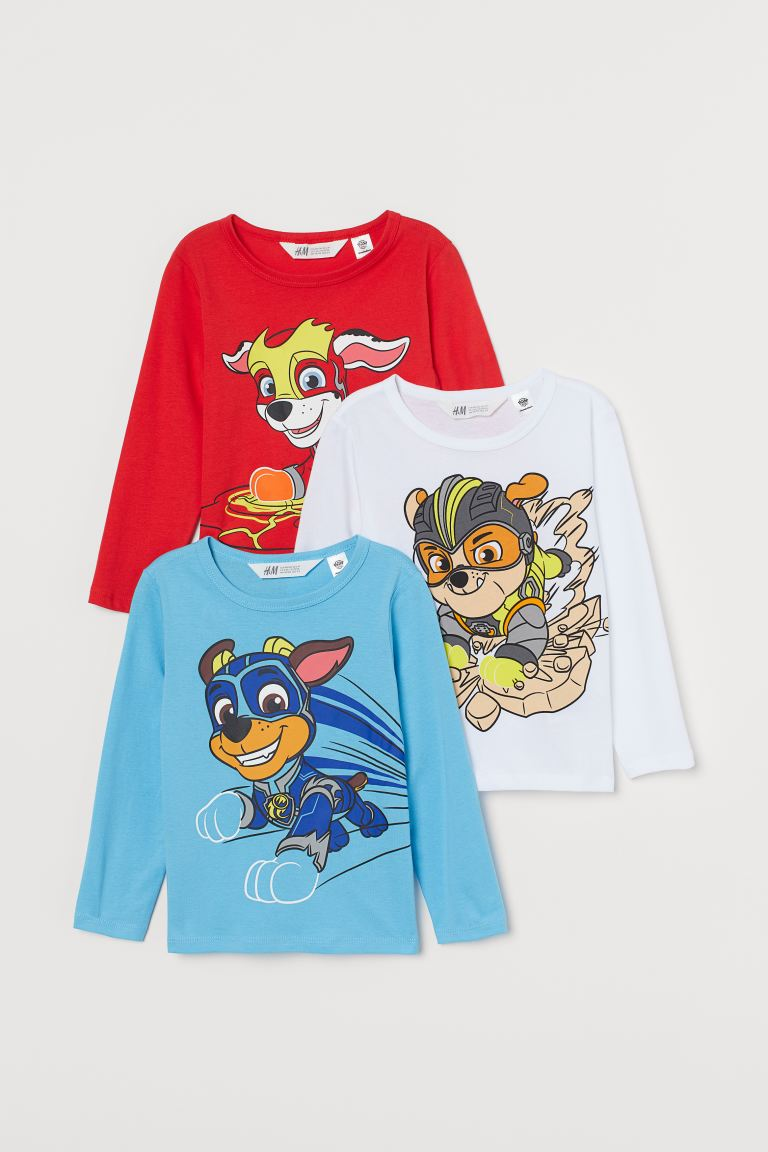 3-pack printed jersey tops - Blue/Paw Patrol - Kids | H&M