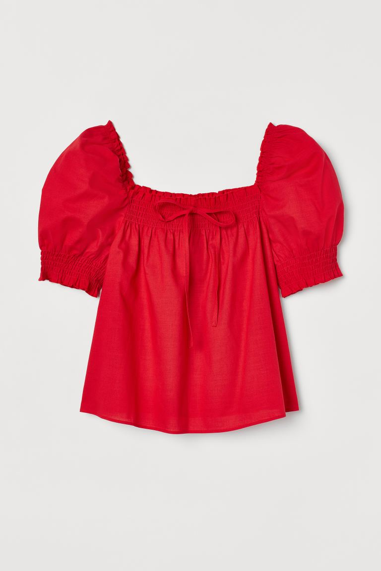 Puff-sleeved cotton blouse - Red - Ladies | H&M