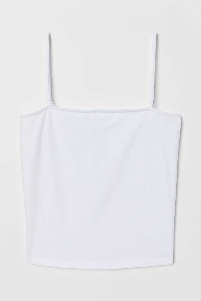Cropped Jersey Camisole Top - White - Ladies | H&M US