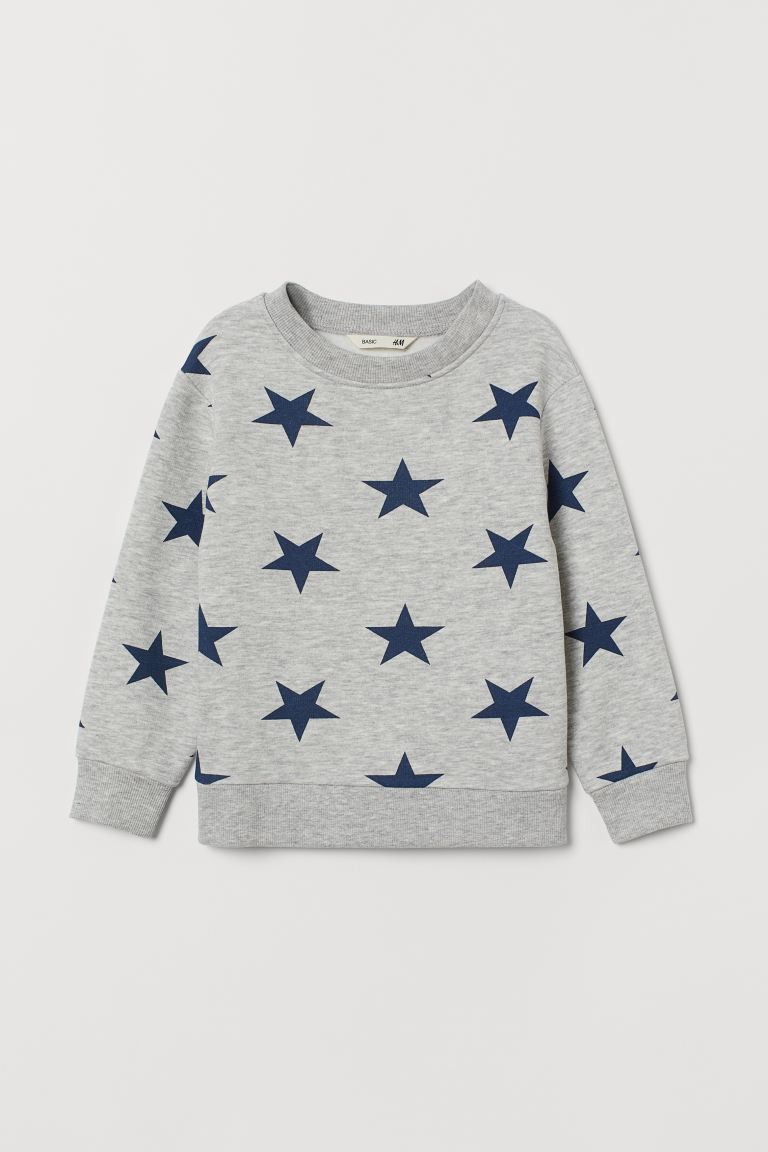 Sweatshirt - Gray melange/stars - Kids | H&M US